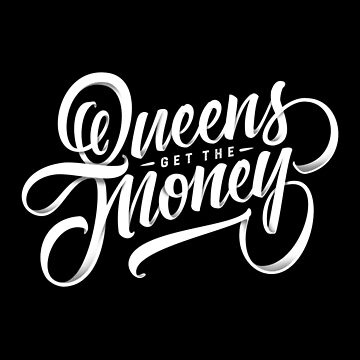 QUEENS - Hand Lettering Black & White by Fishtaco