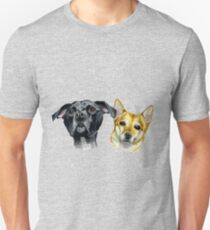Doggie Sisters Watercolor Painting Unisex T-Shirt