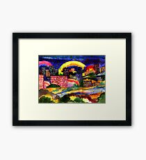 Fantastic city rainbow watercolor Framed Print