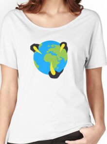 Alien Hand Around Earth - Minimalist Design Women's Relaxed Fit T-Shirt