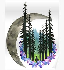 Hand Painted Watercolor Northern Lights & Moon Poster