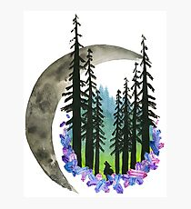 Hand Painted Watercolor Northern Lights & Moon Photographic Print