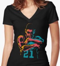 Tribute to Tim Duncan Women's Fitted V-Neck T-Shirt