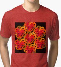 Orange Flowers Dots Spirals ABstract Tri-blend T-Shirt