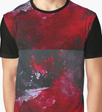 Explosive Bold Red and Black Abstract Graphic T-Shirt