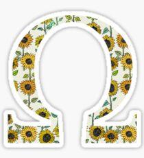 Omega- Sunflower Greek letter Sticker