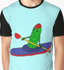 Cool Funny Kayaking Pickle Cartoon Graphic T-Shirt