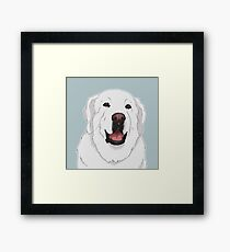 NALA! Great Pyrenees Dog / white polar bear happy cute livestock guardian dog lgd herd sheep dog Framed Print