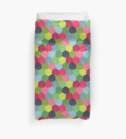 Geometric Hexie Honeycomb Colorful Duvet Cover