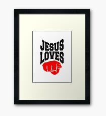 bunt 3 kreuze cool pixel gamer retro 8 bit muster christ logo design schriftzug jesus christus  Framed Print