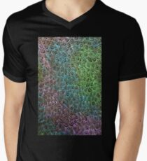 Geometric Peacock Oil Pastel Etching Men's V-Neck T-Shirt