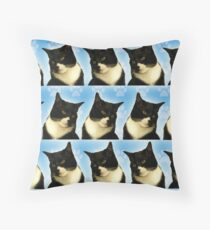 Cute Tuxedo Cat Pattern  Throw Pillow