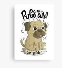 Pugs are cute Canvas Print