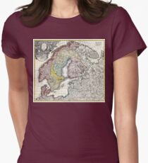 Map of Scandinavia, Norway, Sweden, Denmark, Finland and the Baltics by Homann - 1730 Womens Fitted T-Shirt