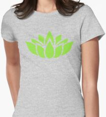 Green Lotus Flower Womens Fitted T-Shirt