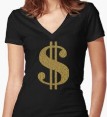 Gold Dollar Sign Fitted V-Neck T-Shirt