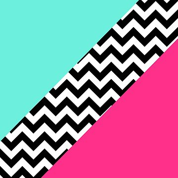 Turquoise and Hot Pink Color Block Chevron by runninragged