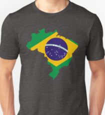Brazil Flag Map T-Shirt