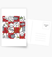 Kitchen Tools Checkerboard Postcards