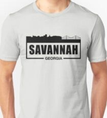 Savannah Georgia Downtown City Skyline Silhouette  Unisex T-Shirt