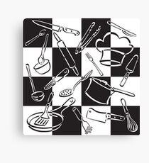 Kitchen Tools Check Canvas Print