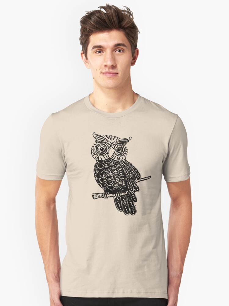 Cute Owl On Tree Unisex T-Shirt Front