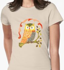 Lovely Cute Owl Women's Fitted T-Shirt