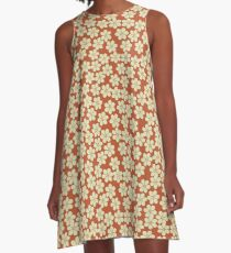 Spring Flowers in Orange and Beige A-Line Dress