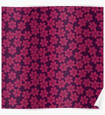 Spring Flowers in Plum and Violet Poster