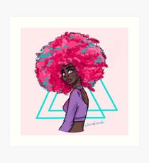 Neon Afro Art Print