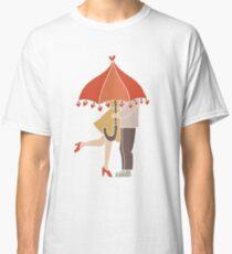 I Love You Couple Kissing Under Umbrella Classic T-Shirt