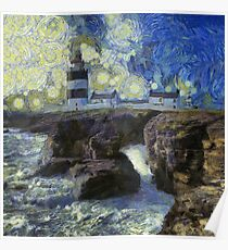Starry Hook Head Lighthouse Poster
