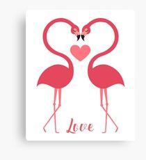 Love Birds Swan Heart Canvas Print