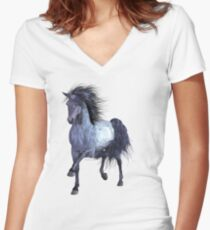 Horse on the Lake Women's Fitted V-Neck T-Shirt