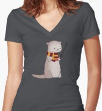 Harry Pawter Otter  Women's Fitted V-Neck T-Shirt