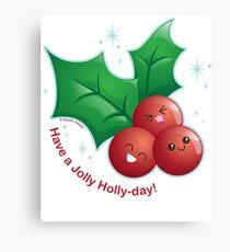 Cute Holiday Holly Canvas Print