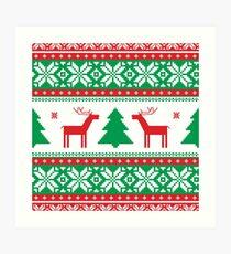 Nordic,scandinavian,pattern,christmas,deer,snow roses, green,red,white,modern,trendy Art Print