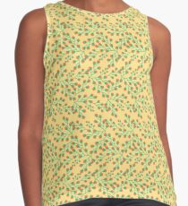 Dainty Flower Print in Orange and Green Contrast Tank