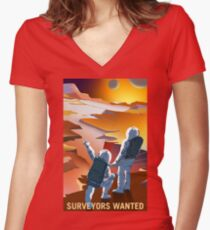 """Vintage """"Surveyors Wanted"""" Mars Recruitment Women's Fitted V-Neck T-Shirt"""