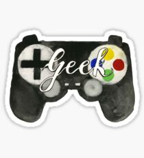 Hand Painted Watercolor Geek Game Controller Sticker