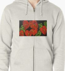 Red Anthurium Zipped Hoodie