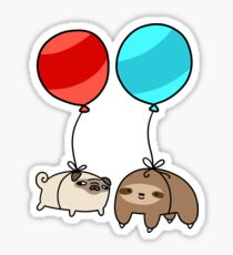 Balloon Sloth and Pug Sticker