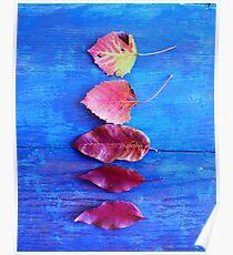 Autumn Leaves on Blue Vintage Table Poster