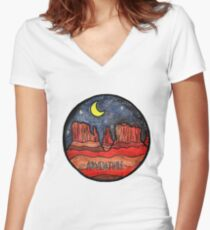 Desert Adventure  Women's Fitted V-Neck T-Shirt