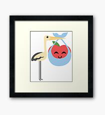Stork with Baby Apple Emoji Happy with Joy Framed Print
