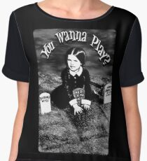 "Wednesday Addams- ""You Wanna Play?"": Chiffon Top"