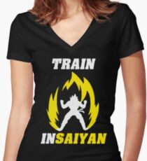 Train Insaiyan Women's Fitted V-Neck T-Shirt