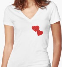 Vampire Heart, Valentine, Evil love, Couple , Couple Heart Women's Fitted V-Neck T-Shirt