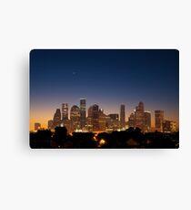 Lienzo Crescent Moon sobre Houston, Texas, Skyline