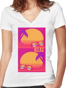 Relax at Sunset Women's Fitted V-Neck T-Shirt